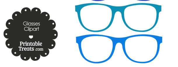Glasses Clipart in Shades of Blue from PrintableTreats.com