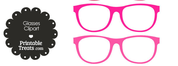 Glasses Clipart in Shades of Pink from PrintableTreats.com