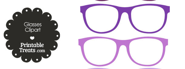 Glasses Clipart in Shades of Purple from PrintableTreats.com
