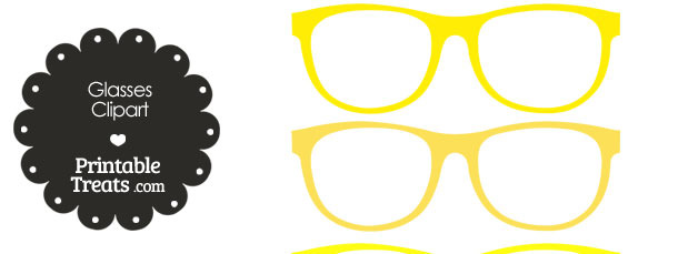 Glasses Clipart in Shades of Yellow from PrintableTreats.com