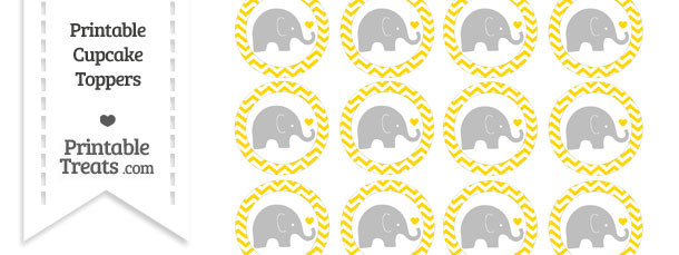 Gold Chevron Baby Elephant Cupcake Toppers