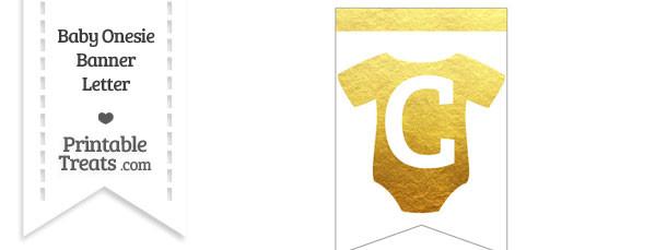 Gold Foil Baby Onesie Bunting Banner Letter C