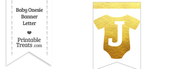 Gold Foil Baby Onesie Bunting Banner Letter J
