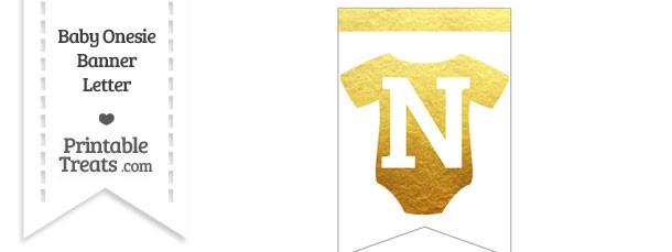 Gold Foil Baby Onesie Bunting Banner Letter N