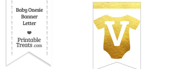 Gold Foil Baby Onesie Bunting Banner Letter V