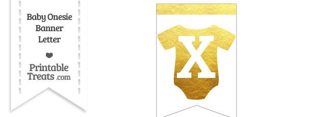 Gold Foil Baby Onesie Bunting Banner Letter X