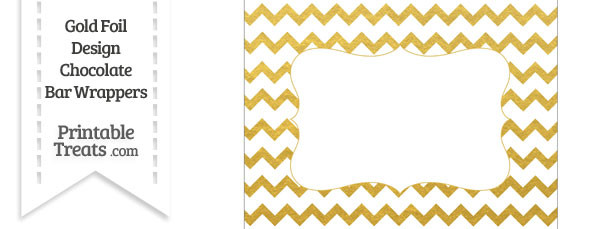 Gold Foil Chevron Chocolate Bar Wrappers