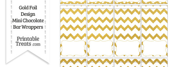 Gold Foil Chevron Mini Chocolate Bar Wrappers