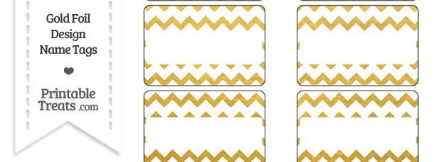 Gold Foil Chevron Name Tags