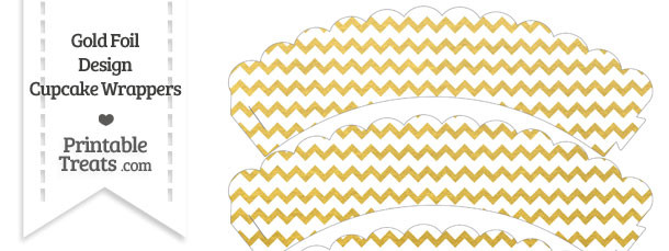 Gold Foil Chevron Scalloped Cupcake Wrappers