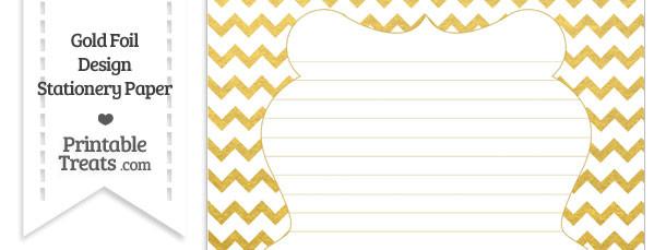 Gold Foil Chevron Stationery Paper