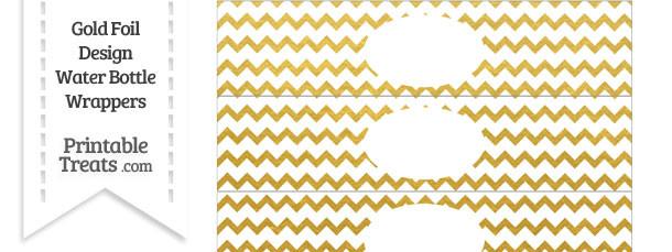 Gold Foil Chevron Water Bottle Wrappers