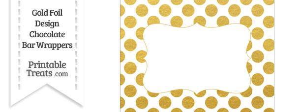 Gold Foil Dots Chocolate Bar Wrappers