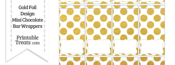 Gold Foil Dots Mini Chocolate Bar Wrappers
