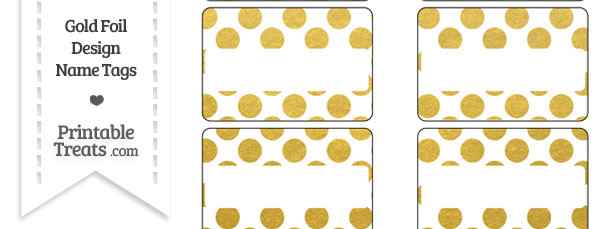 Gold Foil Dots Name Tags