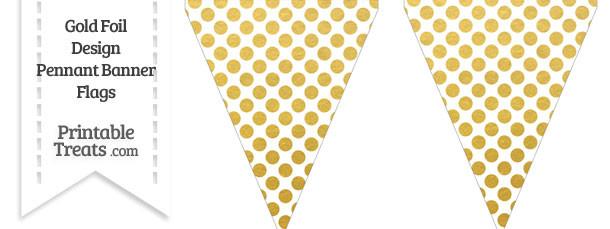 Gold Foil Dots Pennant Banner Flag
