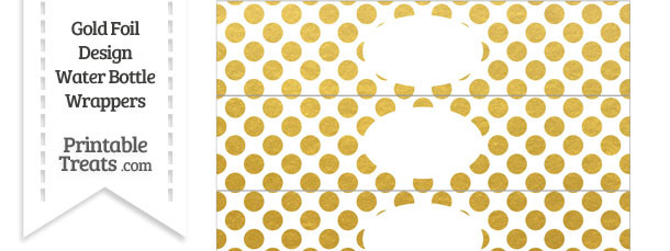 Gold Foil Dots Water Bottle Wrappers