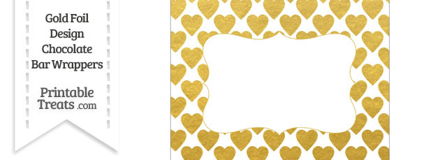 Gold Foil Hearts Chocolate Bar Wrappers