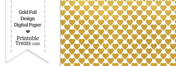 Gold Foil Hearts Digital Scrapbook Paper