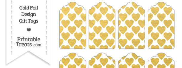 Gold Foil Hearts Gift Tags