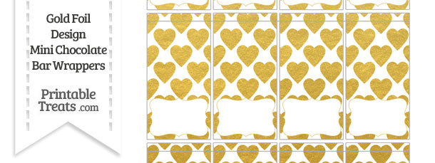 Gold Foil Hearts Mini Chocolate Bar Wrappers