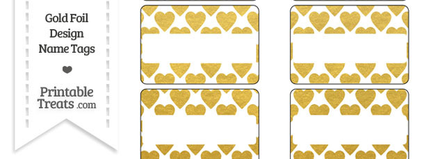 Gold Foil Hearts Name Tags