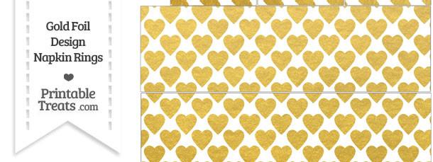 Gold Foil Hearts Napkin Rings