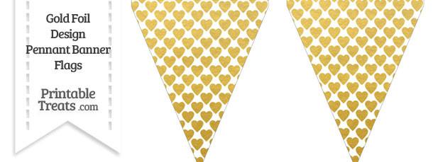 Gold Foil Hearts Pennant Banner Flag