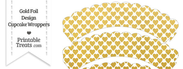 Gold Foil Hearts Scalloped Cupcake Wrappers