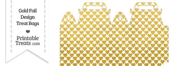 Gold Foil Hearts Treat Bag