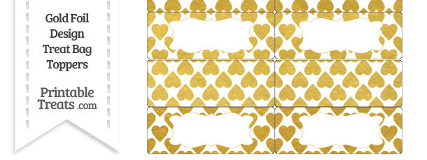 Gold Foil Hearts Treat Bag Toppers