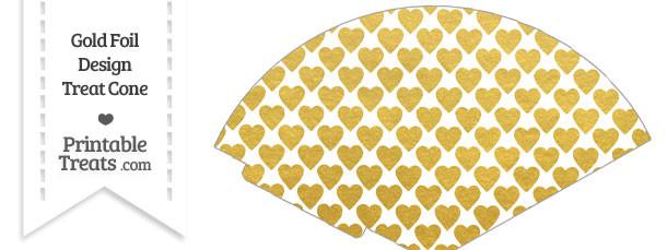 Gold Foil Hearts Treat Cone