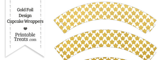 Gold Foil Stars Cupcake Wrappers