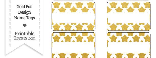 Gold Foil Stars Name Tags