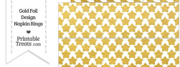Gold Foil Stars Napkin Rings