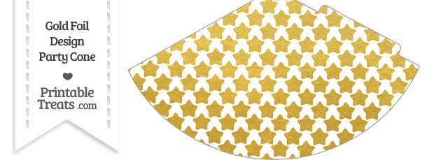 Gold Foil Stars Party Cone