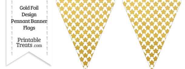 Gold Foil Stars Pennant Banner Flag