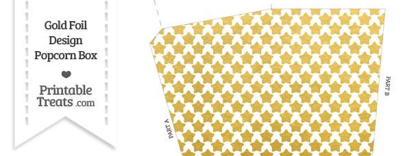 Gold Foil Stars Popcorn Box