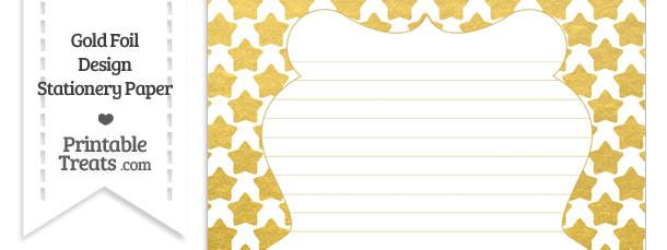 Gold Foil Stars Stationery Paper