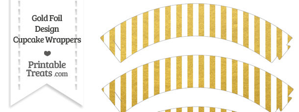 Gold Foil Stripes Cupcake Wrappers