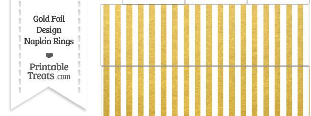 Gold Foil Stripes Napkin Rings