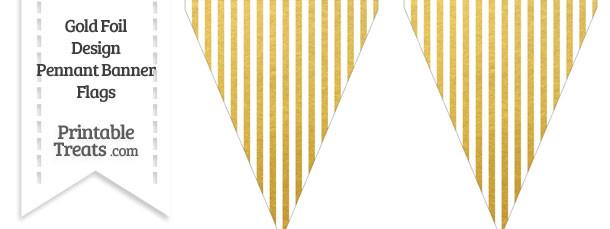 Gold Foil Stripes Pennant Banner Flag