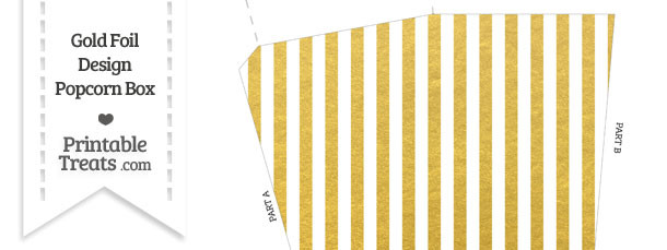 Gold Foil Stripes Popcorn Box