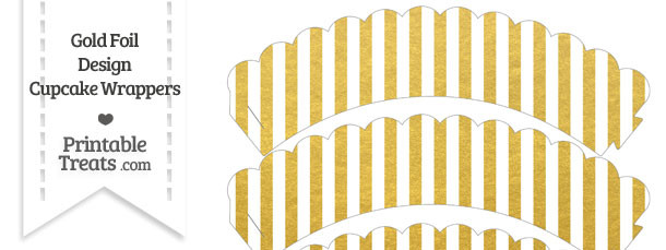 Gold Foil Stripes Scalloped Cupcake Wrappers