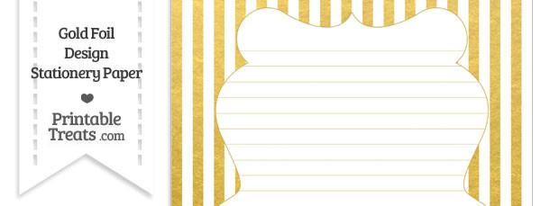 Gold Foil Stripes Stationery Paper