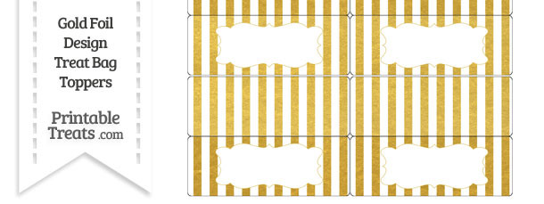 Gold Foil Stripes Treat Bag Toppers