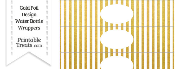 Gold Foil Stripes Water Bottle Wrappers