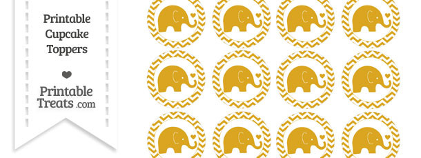 Goldenrod Baby Elephant Chevron Cupcake Toppers