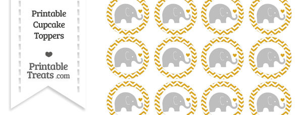 Goldenrod Chevron Baby Elephant Cupcake Toppers