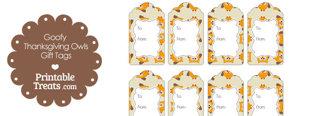 Goofy Thanksgiving Owls Gift Tags